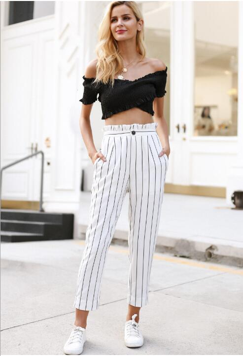 Streetwear striped harem   pants     capri   Ruffle loose casual   pants   women 2018 Summer trousers high waist   pants   bottom