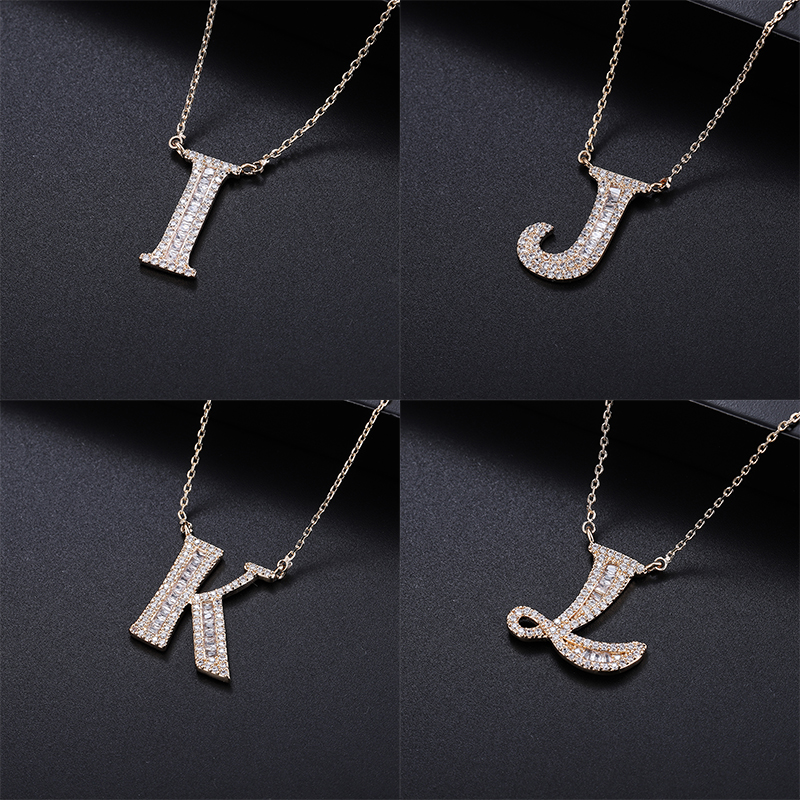 YANMEI Gold Alphabet Letter A To Z Pendant Chain Necklace For Women Hot Sale Cubic Zircon Necklaces Chain Jewelry YMD1227 in Chain Necklaces from Jewelry Accessories