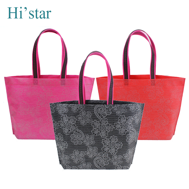 42*32*8CM 10 pieces  2018 Eco Reusable Shopping Bags Cloth Fabric Grocery Packing Recyclable Bag  Design Healthy Tote Handbag