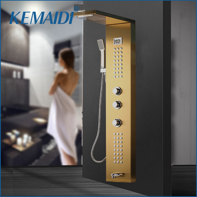 KEMAIDI Golden Black Nickel Brushed Digital Display Shower Panel Column Rain Waterfall Shower Spa Jets Bath