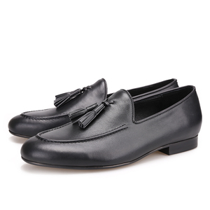 Image 5 - Piergitar Two colors men genuine leather shoes with leather tassel men handmade smoking slippers wedding and party men loafers