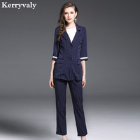 OL Womens Two Piece Sets 2017 Autumn 2 Piece Set Women Stripe Suit Jacket Long Pants
