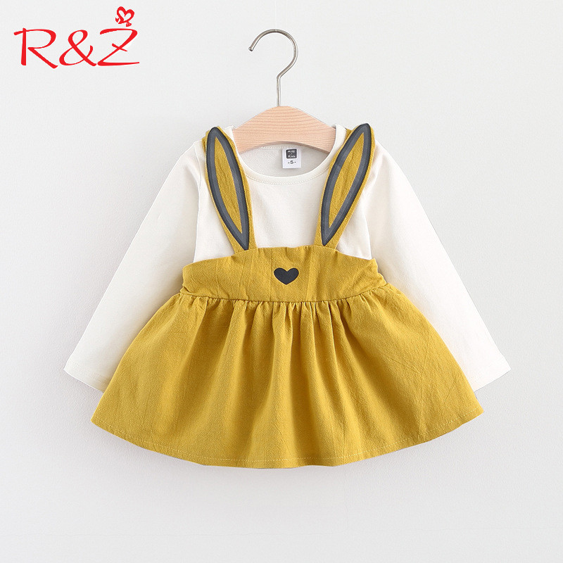 R&Z Baby Dresses 2017 Summer New Baby Girls Clothes Cotton Rabbit Mini A-Line Baby Princess Dress Cute Cotton Kids Clothing