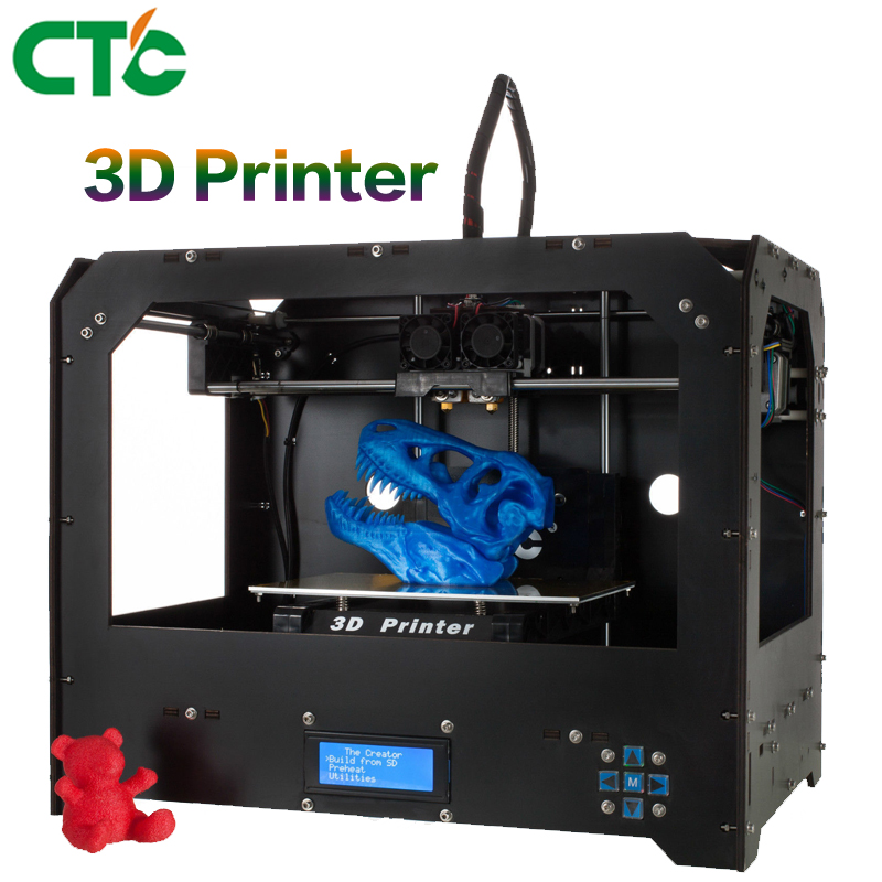 CTC 3D Printer FDM High Precision Replicator 4 Dual Extruder for Makerbot 3D Drucker Two nozzles 3d two cats style hoodie for man