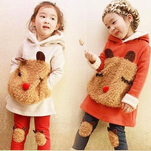 2016 Nuevo invierno ropa para niños juego de la muchacha niño niños del otoño engrosamiento de vellón sudadera + legging niños ropa fijada