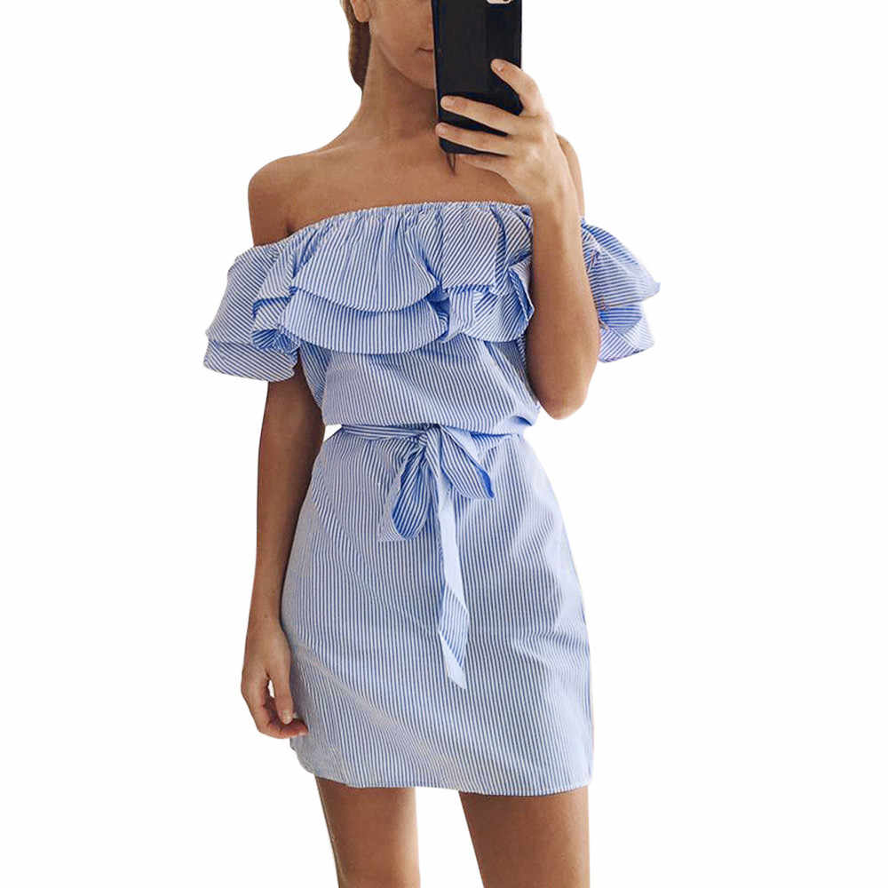 SAGACE 2019 fashion Women Dress Summer Striped Off The Shoulder Ruffle Dress With Belt Casual Dresses Women Clothing Sundress