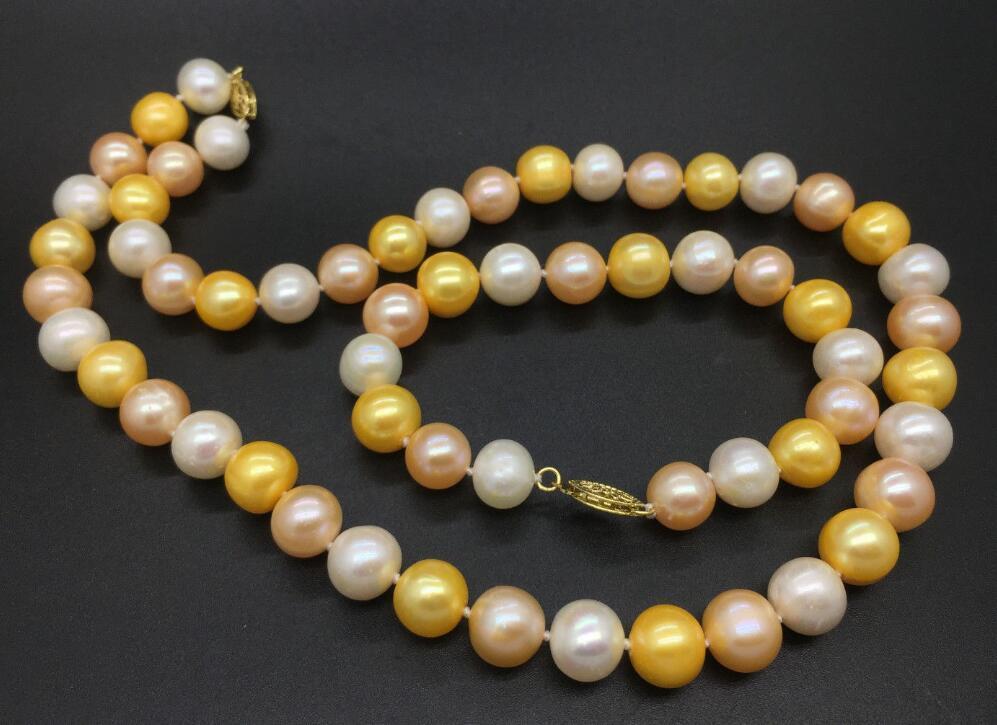 Mer du sud 11-12mm or blanc rose collier de perles 18