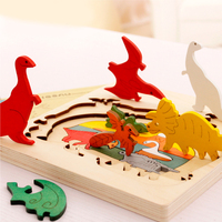 Diy 3D Wooden Puzzle Multi Layer Puzzles Set Dinosaur Dolphins The Little Red Hat Model Toy