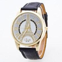 5256dd3f465 Nova Torre de Paris Do Vintage Pulseira de Couro Torre Eiffel Relógio  Estudante Ocasional das Mulheres