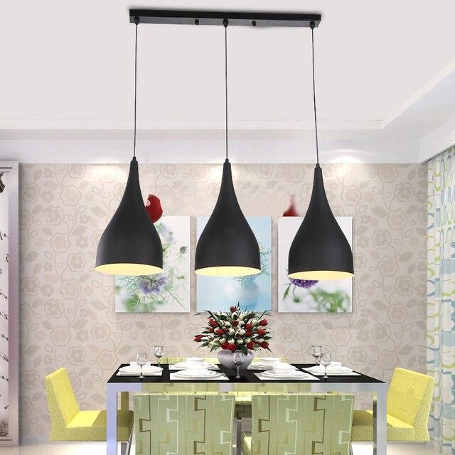 Moderne Anhänger Licht Loft Küche Design Seil Lampe Matte Schwarz Malerei  Eisen Einfache Stil E27 220