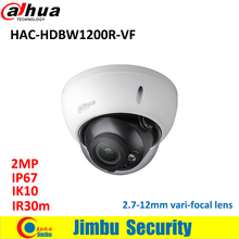 DAHUA HDCVI 2MP camera 2.7-12mm vari-focal lens HAC-HDBW1200R-VF Dome cctv camera IP67 IR30m Max 30fps@1080P CCTV system