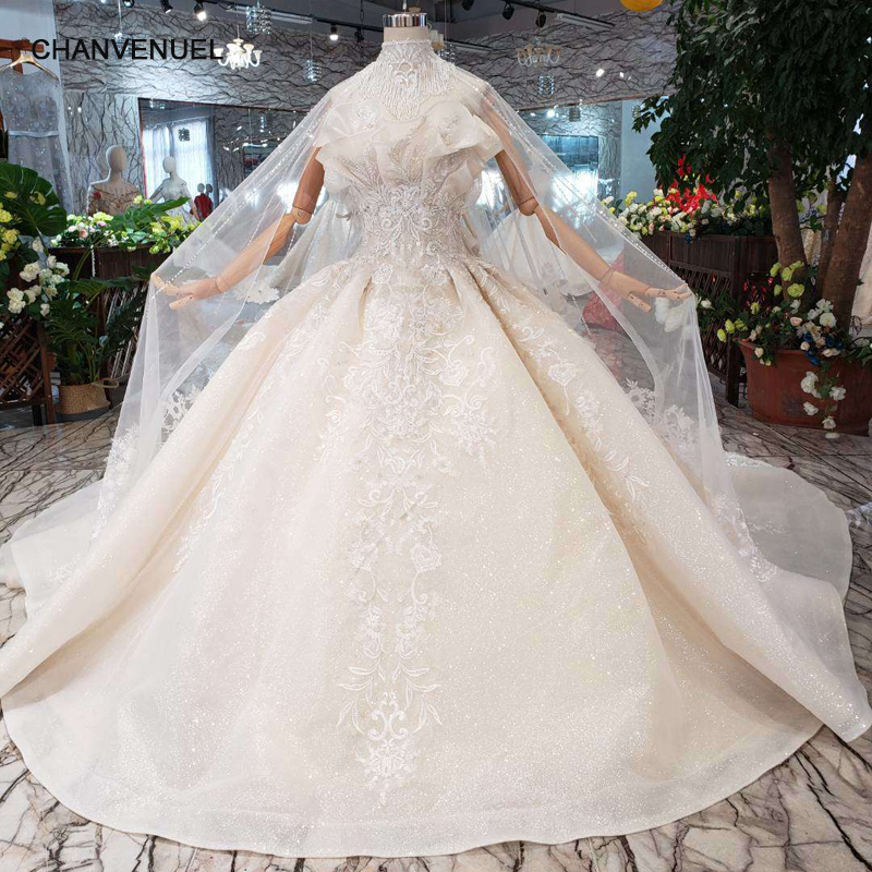 Weddings & Events Lovely 746641 Muslim Luxury Sleeveless Sexy Cape Wedding Dresses 2018 Embroidery Flower Off Shoulder Fashion High-end Bride Gowns