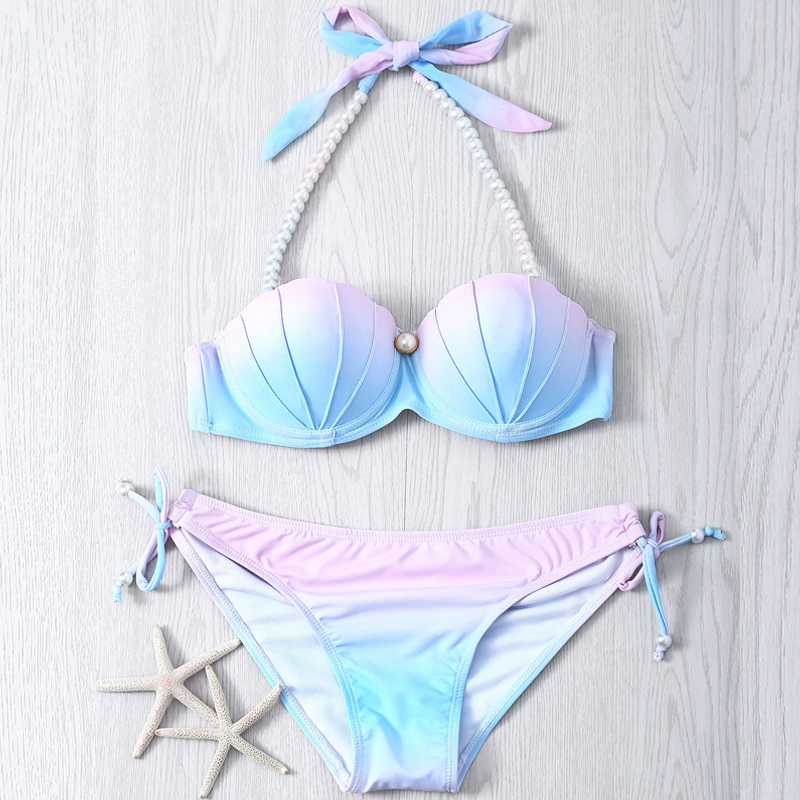 2019 Gradient Color Bikini New Mermaid Shell Bra Two Pieces Swimsuit Halter Neck Swimwear Lady Beach Wear