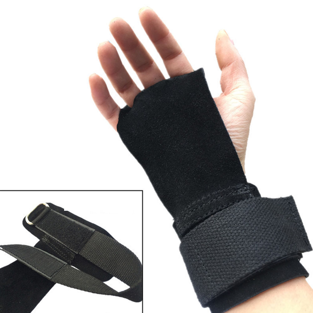 1 PC Universal Sports Hand Grips Gymnastics Adjustable Hand Guard Weight Lifting Pull Up Leather Training