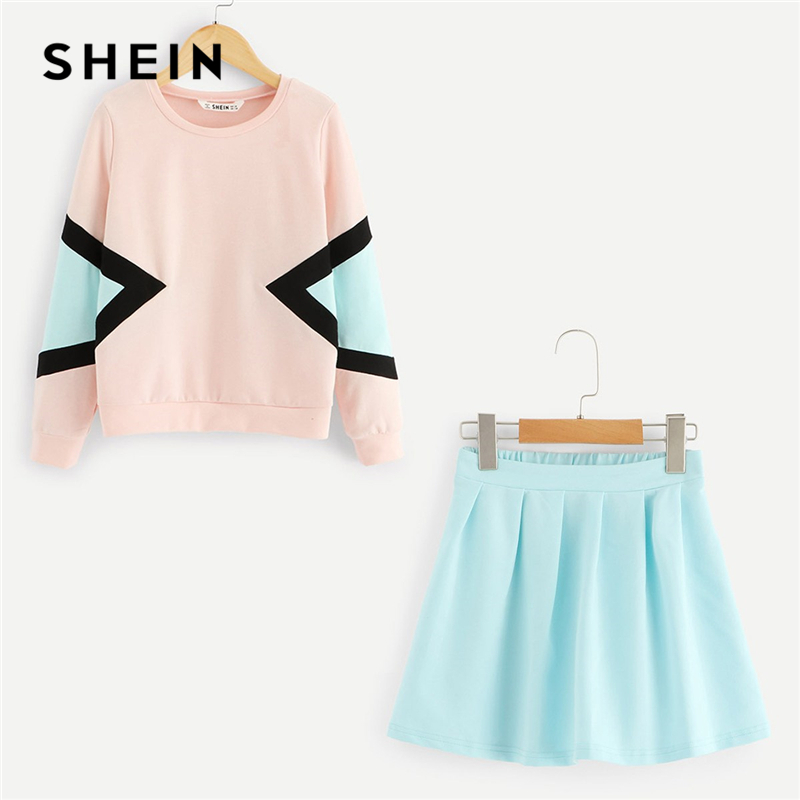SHEIN Kiddie Color Block Sweatshirt And Flared Skirt Set Girls Set 2019 Summer Long Sleeve Elastic Waist Skirt Casual Kids Sets trendy elastic waist argyle hit color women s midi skirt
