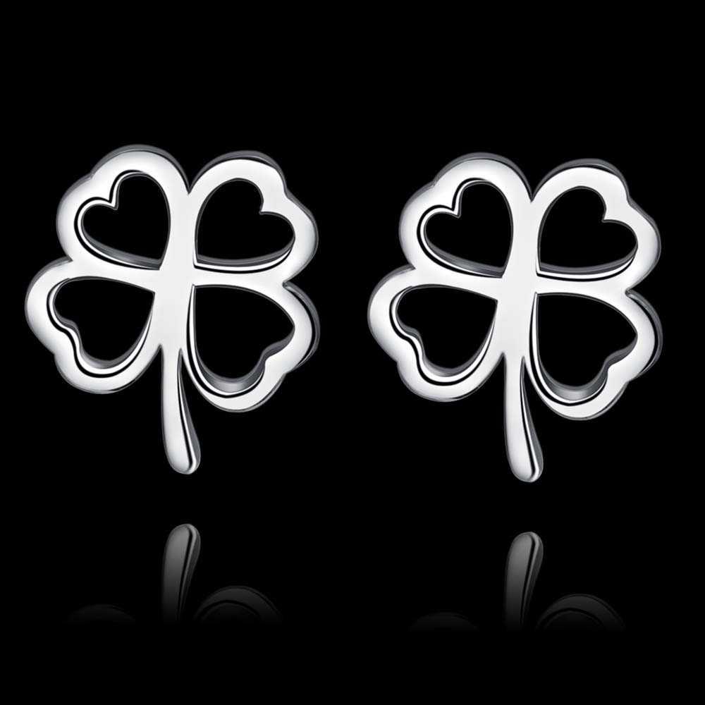 สี่ leaf clover simple คุณภาพสูงจัดส่งฟรีเงินต่างหูแฟชั่นผู้หญิงเครื่องประดับ/OXLIQFFU JIIASYNJ
