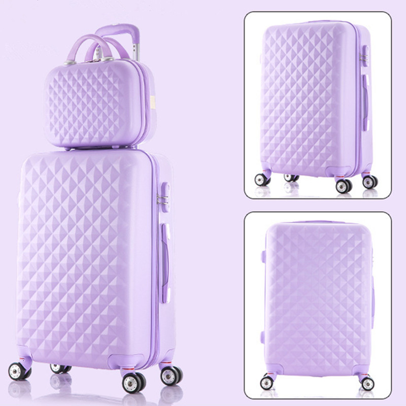 Korea fashion 14 28inches abs+pc travel luggage bags sets on 8-universal wheels,girl candy color trolley luggage,purplgreen bags