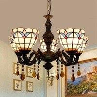유럽 현대 지중해 거실  침실 바  클럽 커피 숍  스테인드 글라스  5 샹들리에.