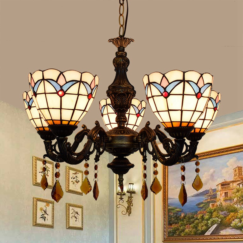 European modern Mediterranean living room  bedroom bar  club coffee shop  stained glass  5 chandeliers. Pendant Lights     - title=