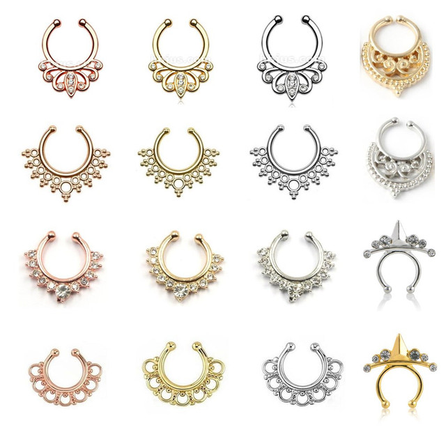 Hotselling Varied crystal fake nose rings and studs rose gold piercing clip septum Mix Design nose ring women body jewelry