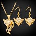Colgante Collares Pendientes Establecidas Para Las Mujeres oro/Platino Plateado Rhinestone Austríaco Sistemas de la Joyería de Zorro PE969