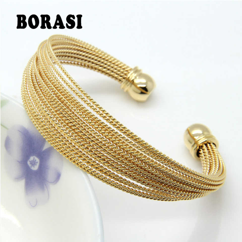 Never Fade Stainless Steel A Lot Of Twisted Wire Bracelets Bangles Gold / Rose Gold / Silver Color Women's Fashion Jewelry