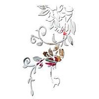 3d DIY Espejo de Pared Pegatinas Decoración Del Hogar de Plata Flor de La Planta Patrón de vid Para Kid Dormitorio Salón TV Pared de Fondo papel