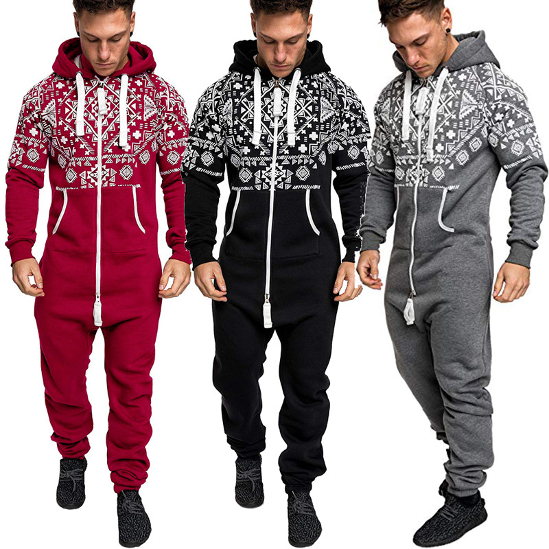 2019 Autumn And Winter New National Style Printing Men's Set Casual Slim One-piece Zipper Hooded Sweater Set Fleece Warm Jogg
