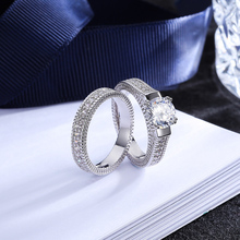 LNRRABC Silver Color Luxury 2 Rounds Bijoux Fashion Wedding Ring Set Cubic Zirconia Jewelry 1PC Exquisite Allergy Free Unique