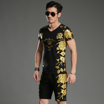 Chinese style exquisite bronzing printing fashion t shirt and shorts set Summer 2018 New high-quality cotton tracksuit men M-4XL