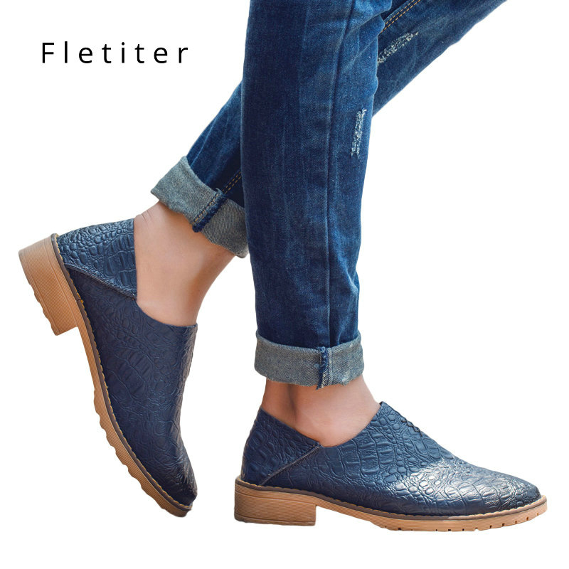 цена на Spring Casual Shoes Solid Flats Women Flat Platform Slip on Round Toe Concise Genuine Leather Leisure Ladies Oxfords Fletiter