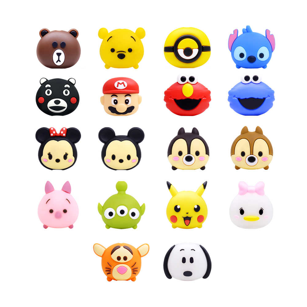 CHIPAL dla Tsum śliczne ugryzienie zabezpieczenie kabla dla iPhone USB kabel ładowarki Winder organizer do kabli Cartoon Bites uchwyt na telefon