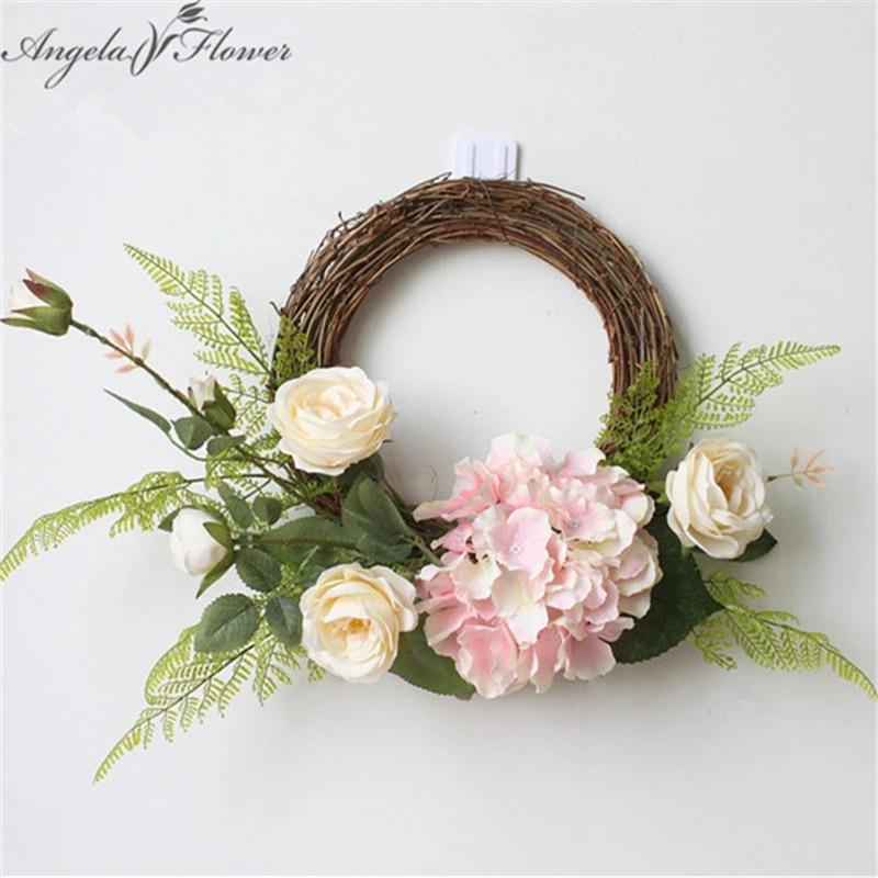 Hydrangea Camellia Wreath Artificial Flower Leaf Wreath Door Wall Wedding Decor