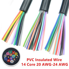 5Meter 24 AWG 22 AWG RVV 14 Core Copper Wire Conductor Electric RVV Cable Black soft