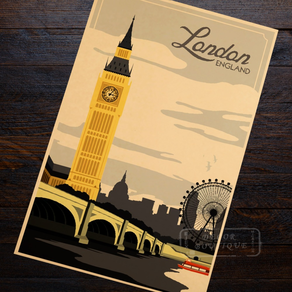 Tower London, England Travel Landscape Vintage Retro Poster ...