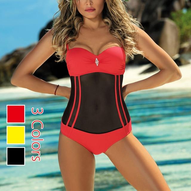 2b6dad8b3a Super Sexy Splicing Transparent Mesh One Piece Swimsuit Summer Sheer  Monokini See Through Bathing Suit Swimwear Bodysuit Bikini