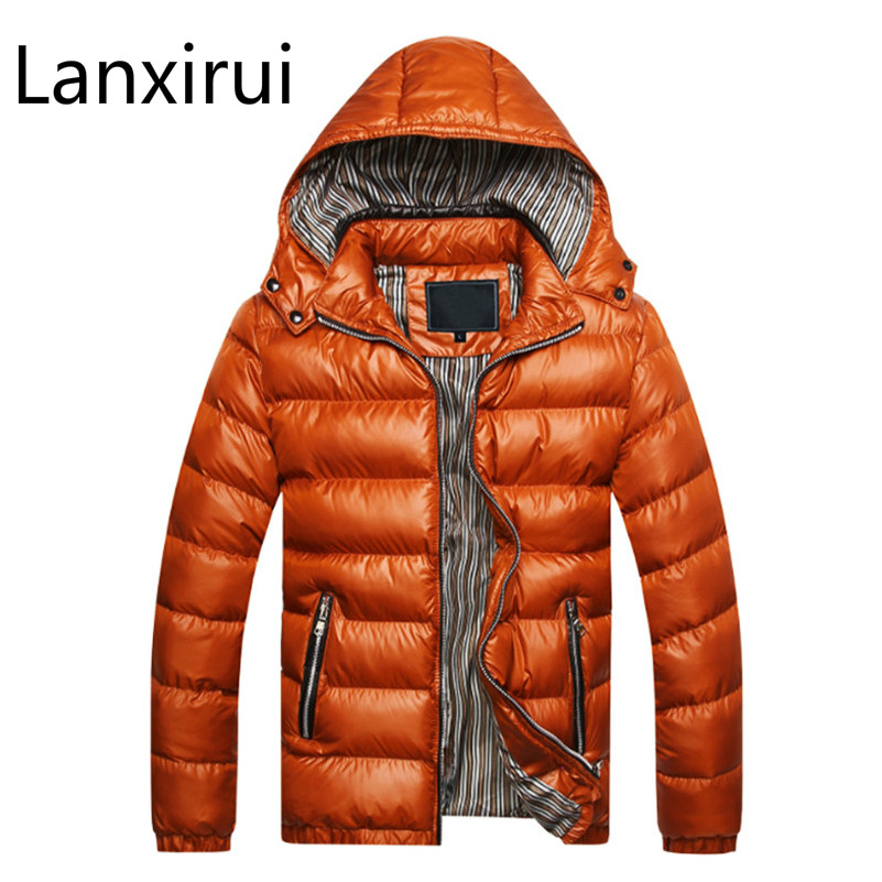 Winter Jacket Men Parka Warm Outwear Male Slim Mens Coats Thick Parkas Clothing,Red,XL