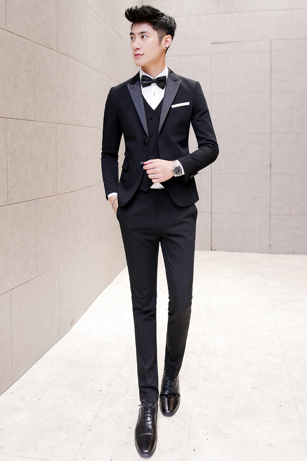 NoEnName_Null 2017 Black Tuxedo Mens Tweed Jackets Mens Black Slim Fit 3 piece Men Suits Formal Wedding Dress Suits terno