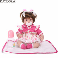 KAYDORA 16 inch 40cm Reborn Dolls Soft Silicone Doll Baby Mini Toys For Girl Children Alive Kindergarten Bebe