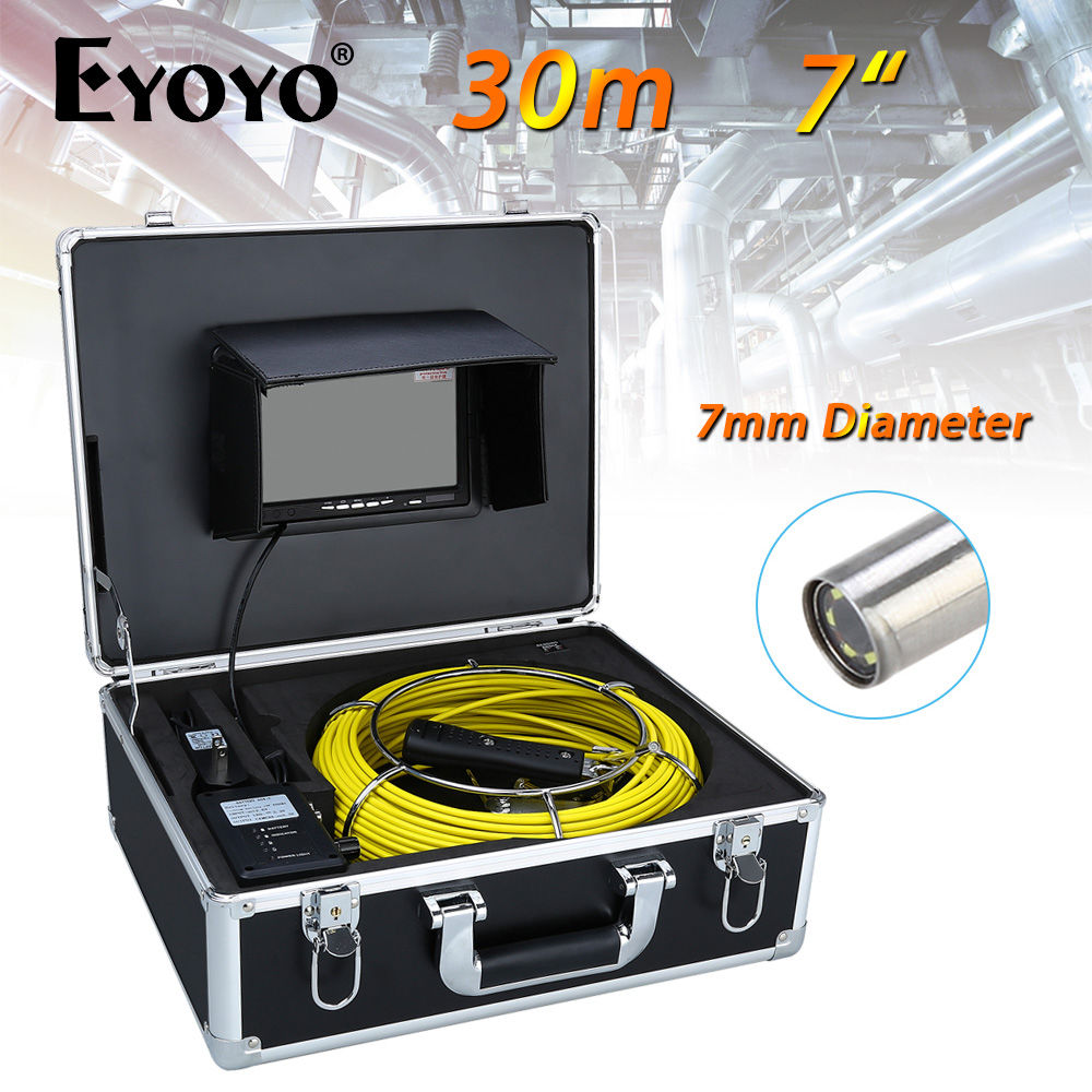 Eyoyo 30M 7 LCD 7mm Pipe Pipeline Drain Inspection Sewer Video Camera CCTV Cam CMOS 1000TVL Snake Endoscope TFT HD Sun shield dhl free wp90 50m industrial pipeline endoscope 6 5 17 23mm snake video camera 9 lcd sewer drain pipe inspection camera system