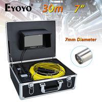 Eyoyo 30M 7 LCD 7mm Pipe Pipeline Drain Inspection Sewer Video Camera CCTV Cam CMOS 1000TVL Snake Endoscope TFT HD Sun shield