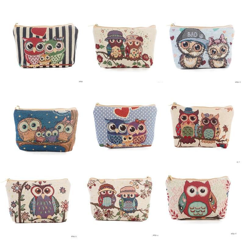 Miyahouse  Jacquard Makeup Small Cosmetic Bag Jacquard Makeup Bag High Quality Cute Owl Design Toiletry Organizer Bag