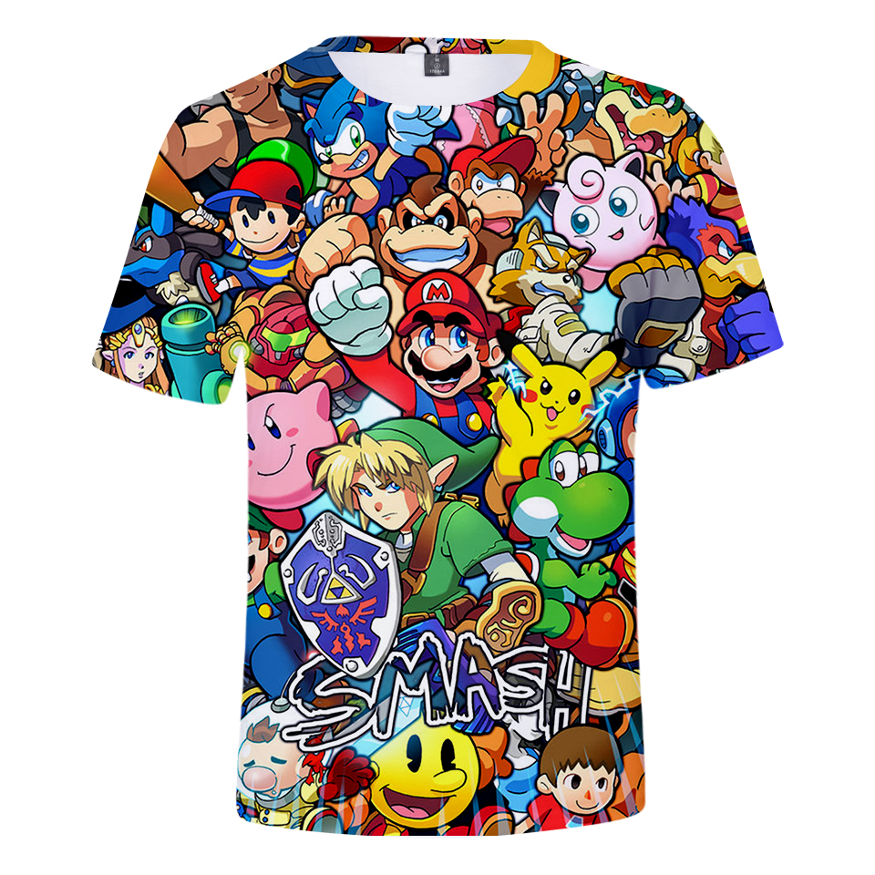 2019 Summer New Style 3d T Shirt Cartoon Super Mario 3D Print T-shirt Funny Drugs Casual Gamer O Neck 3d Tshirt T Shirts Tops