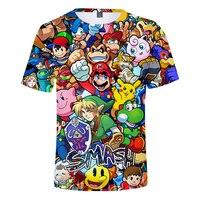Лето 2019, новый стиль, 3d футболка, мультфильм Супер Марио, 3d принт, футболка веселая, наркоман, повседневная, с круглым вырезом, 3d футболка, фут...