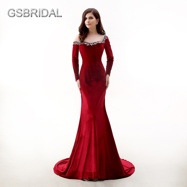 4539cda3d488 GSBRIDAL Long Sleeve Wine Red Mermaid Velvet Neck Beading Sexy Prom Dress  Formal Occasion