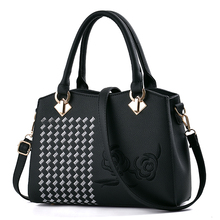 SUONAYI Women Leather Handbag Messenger Bag Female Shoulder Womens Embroidery Flower sac a main