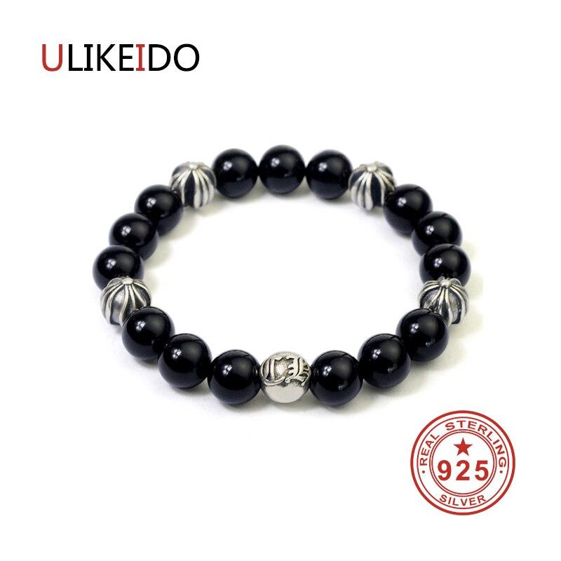 100% Reine 925 Sterling Silber Armbänder Männer Fashion Punk Hand Kette Für Frauen Thai Silber Schmuck Charme Armband Homme 1374