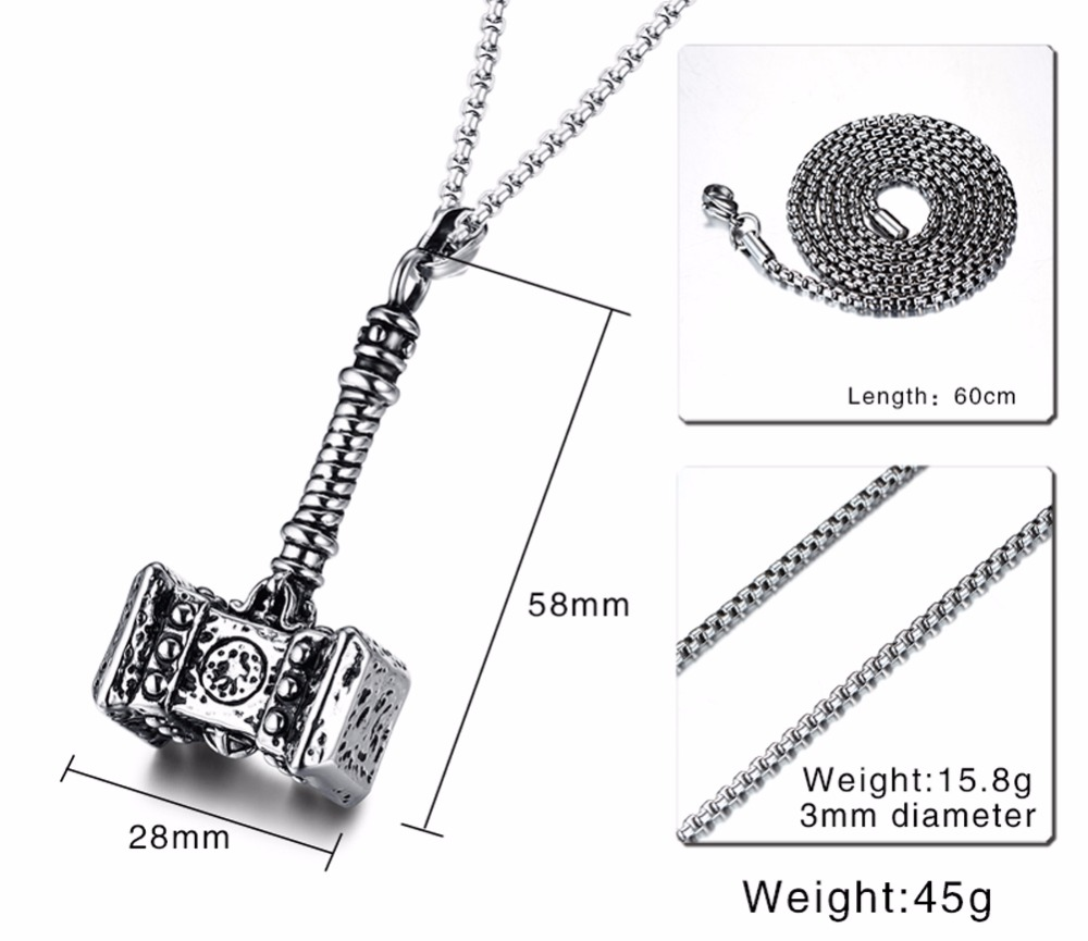 Mens Solid Viking Thors Hammer Pendant Necklace Stainless Steel Vintage Mjolnir Norse Jewelry collares collier colar kolye collane choker 13