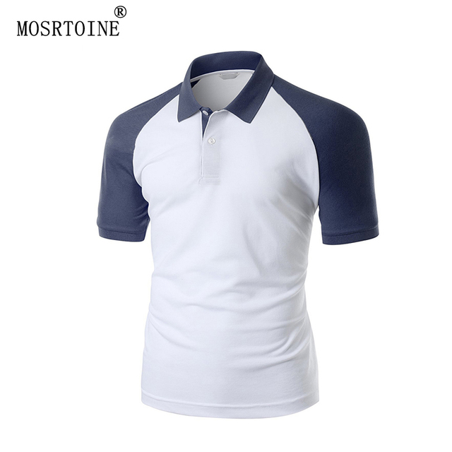 MOSRTOINE Man Polos 2017 Summer Clothing Plus Sizes XXL 3 Candy Colors Patchwork Gentleman Fashion Man Tops Tees Polos New