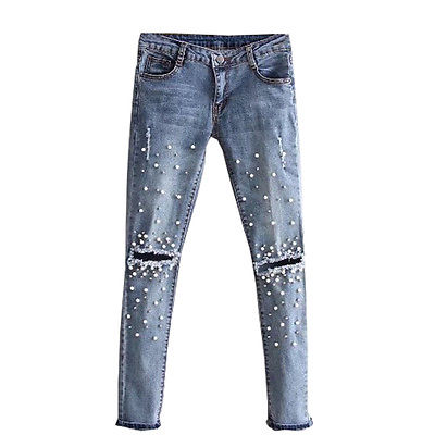 Women Cool Destroyed Ripped pearled Slim Denim   Pants   Boyfriend Jeans Trousers